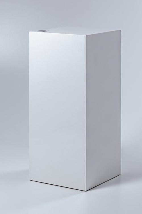 white pedestal with shelves inside