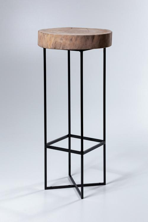 bar table with log top
